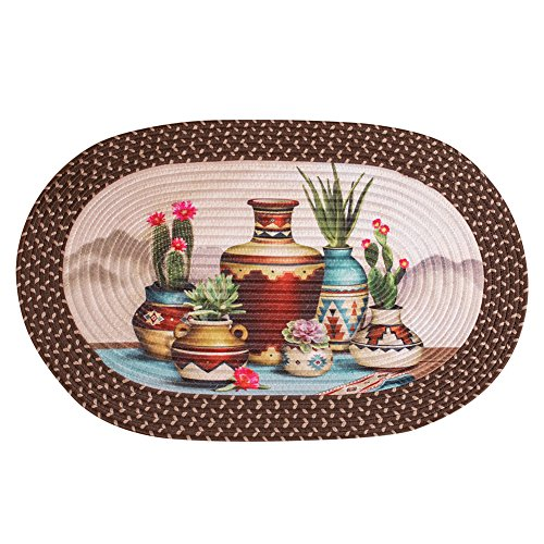 Southwest Kitchen Theme Décor Oval Braided Rug, Cactus in Pottery (Shakers Pottery)