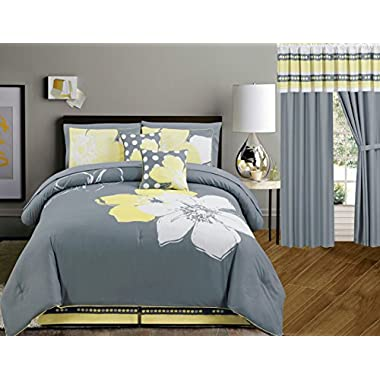 Yellow Grey White floral Bed-in-a-bag KING Size Bedding + Sheets + Curtains + Accent Pillows Comforter set