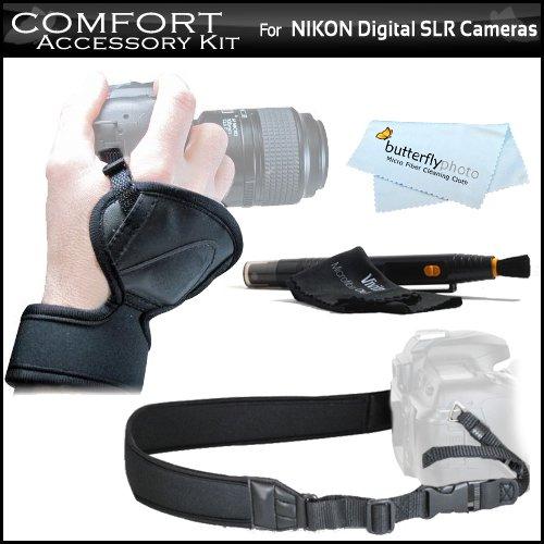 Comfort Kit For Nikon Df, D7200 D5500 D5200 D5300 D3400 D3300 D3200 D3100 D3000 D5000 D5100 D7000 D7100 D90 D800 D800E D810 D600 D610 D750 DSLR Includes Wrist Grip Strap + Neoprene Neck / Shoulder Strap + More
