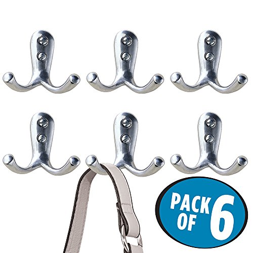 mDesign Wall Mount Entryway Double Storage Hook for Jackets, Coats, Hats, Scarves - Pack of 6, Chrome