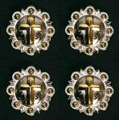 Gold Cross Silver Conchos with Screw Back (1