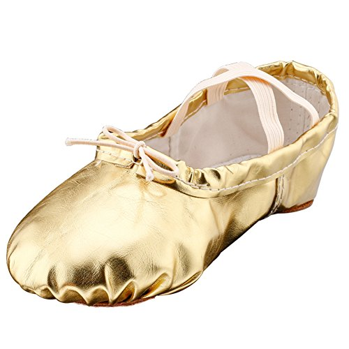 MSMAX Girl's Pu Ballet Dancing Shoes with Split Soft Sole,Gold,9.5M US