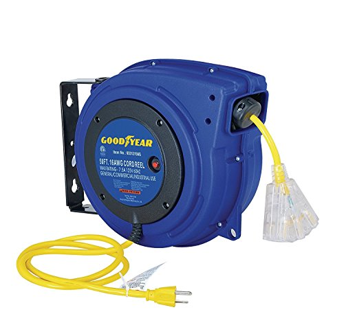 Goodyear Extension Cord Reel Heavy Duty, 50 ft, 16 AWG/3C SJTOW, Triple Tap with LED Lighted Connector (Duty Heavy Reel Cable)
