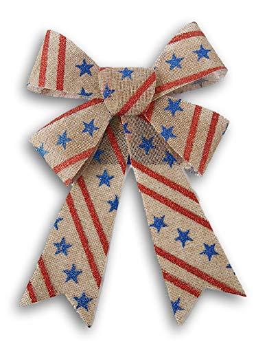 Patriotic Holiday Glittery Stars and Stripes Decorative Burlap Bow - 7.5 x 11.5