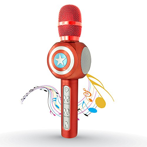 Wireless Bluetooth Karaoke Microphone, Perfect Gift for Kids, 3-in-1 Portable Handheld Bluetooth Speaker Machine for Singing Recording Interviews, Support Apple Iphone Ipad Android Smart phone PC