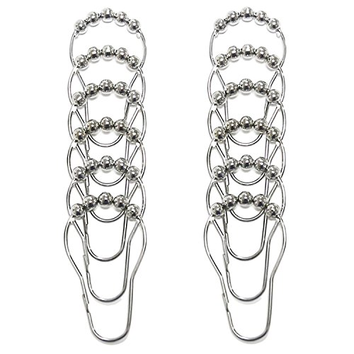 [GWELL 12 Piece Set Rustproof Stainless Steel Shower Curtain Rings Hooks for Bathroom Shower Rod (#1)] (Mosaic Heart Ring)