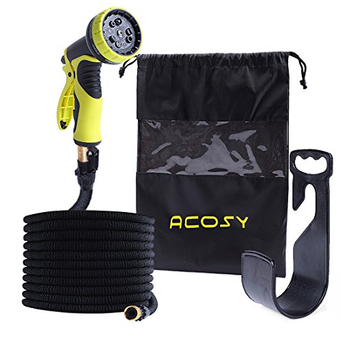 100 ft Expandable Garden Lawn Hose- Heavy Duty Flexible Leakproof Hose – 9-Pattern High-Pressure Water Spray Nozzle & Bag&Plastic Holder. No Kink and Tangle-Free Lawn and Plant Watering System