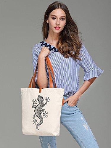So'each Women's Lizard Geometric Pattern Top Handle Canvas Tote Shoulder Bag