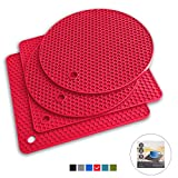 Q's INN Red Silicone Trivet Mats   Hot Pot Holders   Drying Mat. Our potholders Kitchen Tool is Heat Resistant to 440°F, Non-slip,durable, flexible easy to wash and dry and Contains 4 pcs.