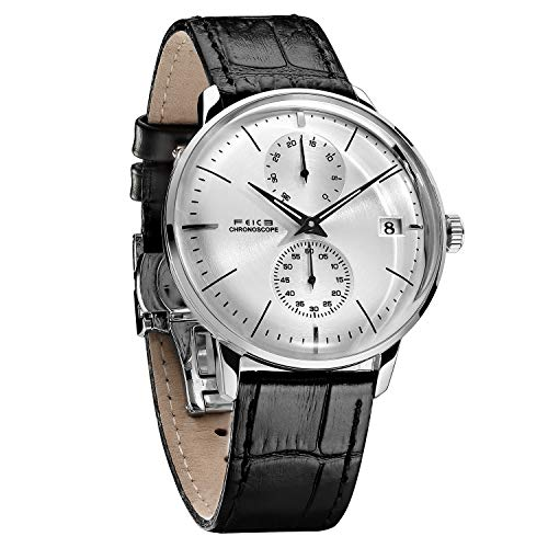FEICE Men's Automatic Watch Mechanical Watch Stainless Steel Leather Band Watches Analog Curved Mirror Brushed Finish Casual Dress Watches for Men #FM212 (4-Silver+Leather Strap)