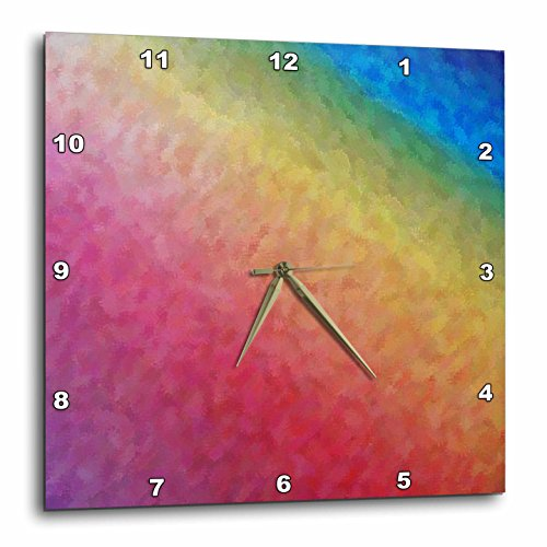 3dRose Rainbow Ice - Wall Clock, Square rainbow wall art