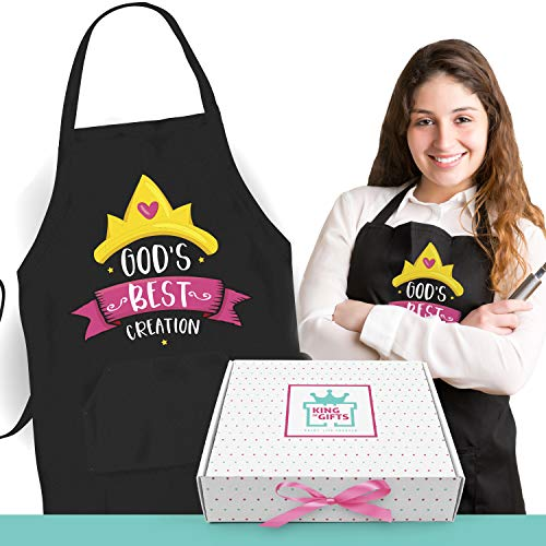 (Awesome Gift Box with Personalized Apron   Inspirational Gifts for Women Who Love Cooking   Kitchen Aprons for Cool Girls & Present for Female Friend   Includes Card to Write Special Message)
