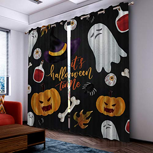 Fantasy Star Curtains for Living Room with Grommet- Halloween Ghost Pumpkin Eyeball and Bone Blackout Thermal Insulated Windows Treatment Curtains for Bedroom (2 Panels, 52 x 96 Inch Each Panel) -