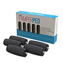 5 Extra Coarse refill rollers by Pamperped for the electric rechargeable amope pedi perfect callus remover foot file pedicure tool kit set Professional spa like results wet or dry