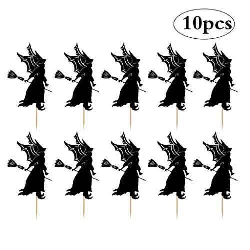 JANOU Halloween Witch Broom Cake Topper Cupcake Picks for Halloween Party Cake Decoration Pack 10pcs -