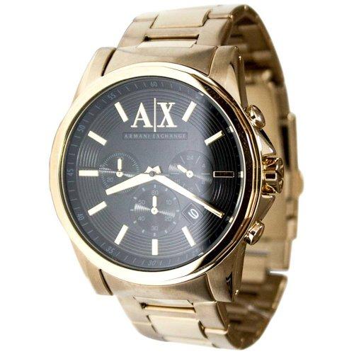 Armani Exchange Mens Gold Chronograph Bracelet Wat (Armani Bracelet)