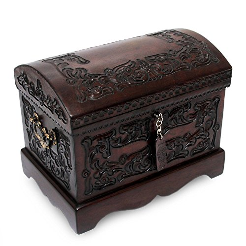 NOVICA Colonial Wood and Tooled Leather Jewelry Box, Brown 'Colonial Mystique'