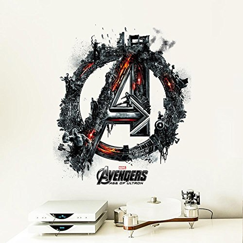 Best Choise Product Avengers Logo Cartoon Movie Wall Stickers for Kids Rooms Children PVC Wall s Room Decor Wallpaper Poster Mural