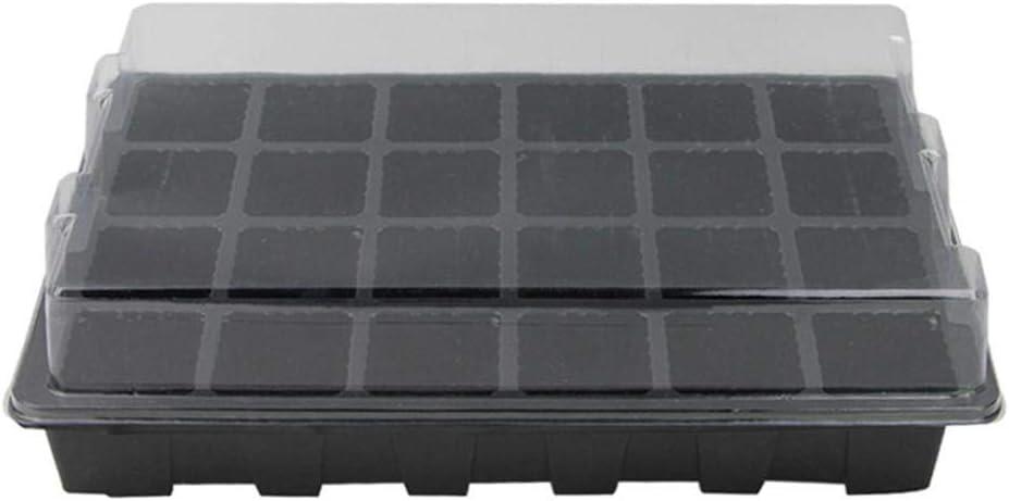 QINGHUI - Kit de iniciación de Semillas de 24 Agujeros, bandejas de Plantas, duraderas, para Plantas, Jardines, Cultivos en Interiores y Jardines, Color Negro