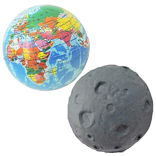 (Novelty Giant Earth Globe & Moon Squeeze Toy Stress Ball Set of 2)