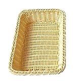 Katoot@ 40307cm Rectangle Imitation Rattan Bread Basket Woven Storage Basket For Home Kitchen Fruit Food Vegetables Organizer (S, Yellow)