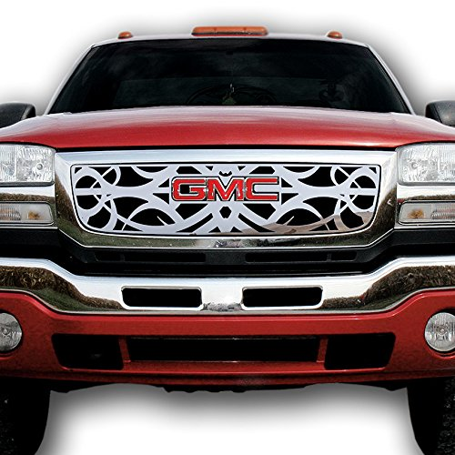 2003-2006 GMC Sierra TRK-131-08-Chrome-a Ferreus Industries Grille Insert Guard Tribal Polished Stainless fits