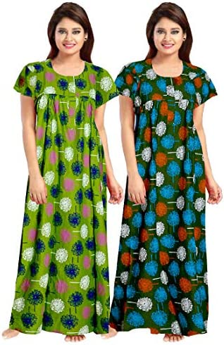 Trendy Fab Women's Cotton Printed Maxi Nighty (Pack of 2) (ComboNT_9660_Multicolored_Free Size)