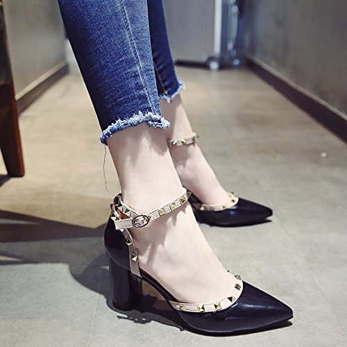 Altos De Mujer Pack Con De Zapatos Ranurado EU39 Y Zapatos Tacones Punta De Sandalias Hembra Áspera SHOESHAOGE Remache Eu34 qwf0tP6f