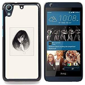 """Qstar Arte & diseño plástico duro Fundas Cover Cubre Hard Case Cover para HTC Desire 626 (Emo B & W retrato de la muchacha"""")"""