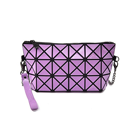 Satchel PVC Top Shoulder Luckywe Spliced Women Handle Tote Homage Handbags Purple Laser Bag Purse qZqfaW