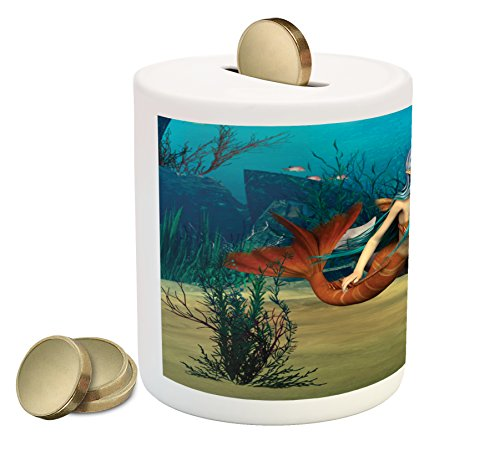 Ambesonne Mermaid Piggy Bank, Fairy Marine Cute Mermaid Girl and Dolphin Fish Swimming Underwater in Blue Ocean Image, Printed Ceramic Coin Bank Money Box for Cash Saving, Multi (Piggy Bank Dolphins)