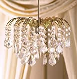 Clear Acrylic Crystal Tear Droplet Gold Frame 4 Tier Chandelier Ceiling Shade Penda