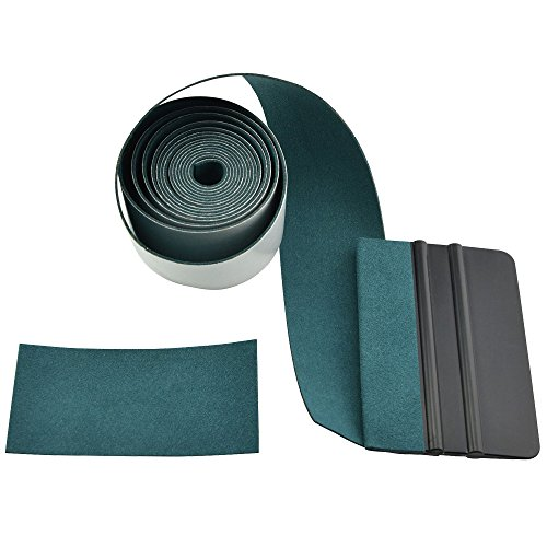 FOSHIO Micro Fiber Felt for Squeegee Edge Wrapping 2 Meters Length - Dark Green Suede Felt to Cover The Edges of Hard Card - Edge Hard Length