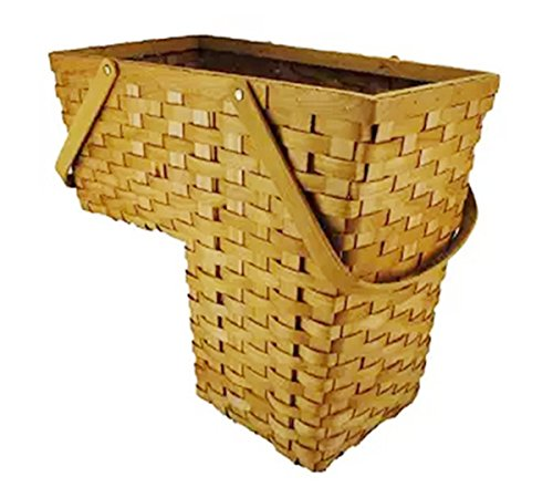 Topot Woodchip Stair Step Basket with Swift Handle (HONEY)