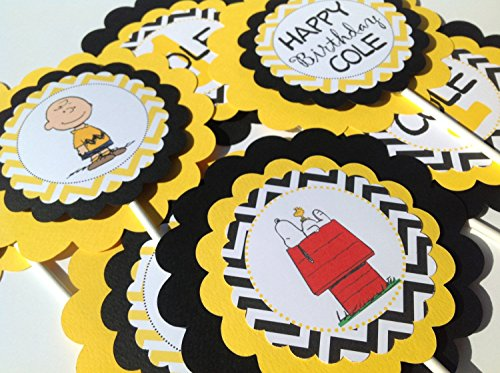 3 Centerpieces or Cake Toppers - Charlie Brown Inspired Happy Birthday Collection - Yellow and Black Chevron & White Accents - Party Packs -
