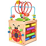 BATTOP Wooden Activity Cube Deluxe Multi-Function CPSC Certified Bead Maze Educational Toy 1 Year Old Toy (6 in 1)