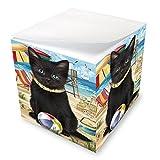 Pet Friendly Beach Black Cat Note Cube NOC51555
