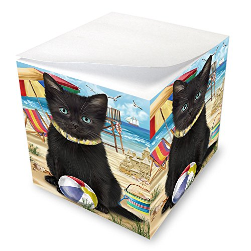Pet Friendly Beach Black Cat Note Cube NOC51555 by Doggie of the Day