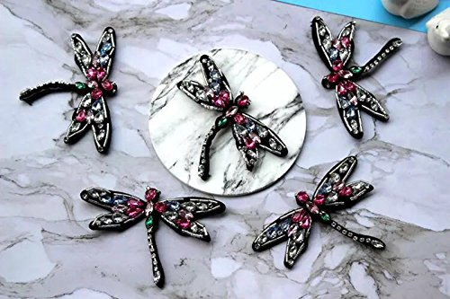 5piece Sequined dragonfly Patch for Clothes Sewing on Rhinestone Beaded Applique for Jackets Jeans Bags Shoes Beading Sequins Applique
