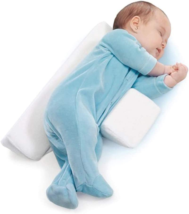 Helps Prevent Flat Head SyndromeWhite Baby Side Sleep Wedge Pillow Breathable Cotton Anti-Spitting Milk