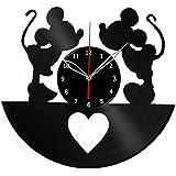 disney office decor. Mickey And Minnie Mouse Disney Vinyl Record Wall Clock Fan Art Handmade Decor Unique Decorative Office