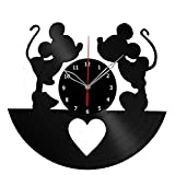 Mickey and Minnie Mouse Disney Vinyl Record Wall Clock Fan Art Handmade Decor Unique Decorative Vinyl Clock 12″ (30 cm) For Sale