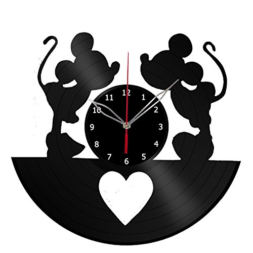 Mickey and Minnie Mouse Disney Vinyl Record Wall Clock Fan Art Handmade Decor Unique Decorative Vinyl Clock 12