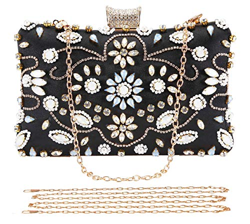 Selighting Crystal Beaded Clutch Evening Bags for Women Formal Bridal Wedding Clutches Purses Prom Cocktail Party Handbags (One Size, Black)
