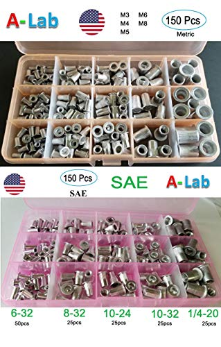 300 pcs Aluminum Rivet Nut Kit Rivnut Nutsert Assort (150pcs Metric+150pcs SAE)