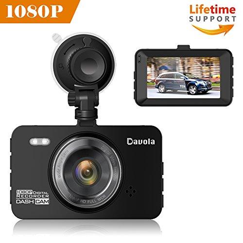 Dash Cam Car Camera 1080P Full HD Dashboard Camera for Car Video Recorder Davola with 3″ LCD Screen 140 Degrees Wide Angle Lens Loop Recording G-Sensor Parking Monitor Motion Detection Night Vision