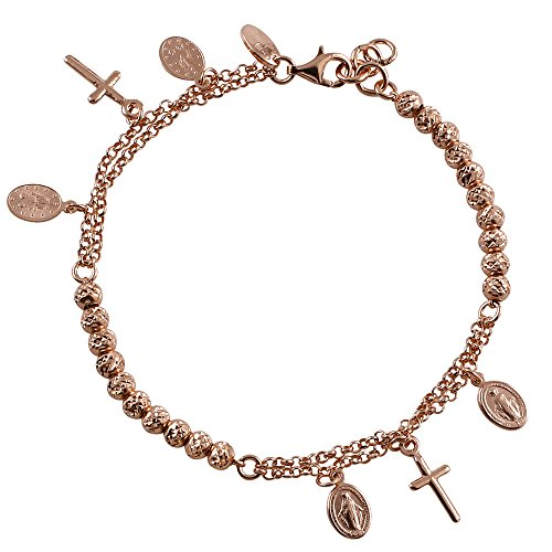 - D Jewelry 925 Sterling Silver Virgin Mary Rosary Beads Charm Bracelet Rose Gold Plated, Adjustable 7