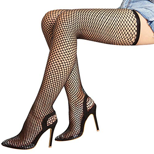 - CapsA Women Stretch Fishnet Thigh High Pointy Toe Stocking Stiletto Boot Classical Lace Top Mesh Stockings Stiletto Elastic Boot (Black, CN 42)
