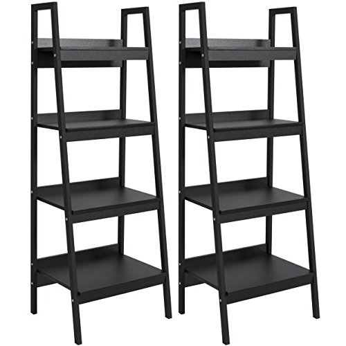 Pair of 4-Shelf Ladder Bookcases- Black, Open Design, Modern, Polished Look,