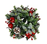 Christmas Artificial Pine Candle Ring With Apples, Berries, Pine Cones and Holly